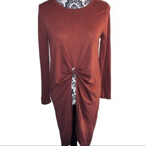 Cotton On High Low Knotted Burgundy Top Large